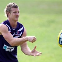 Rhys Palmer during a Fremantle Dockers AFL training session in 2010. Picture: Paul Kane/Getty Images