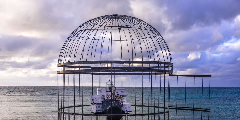 Hamish McMillan's Internment at Sculpture by the Sea in Cottesloe. Picture: Clyde Yee