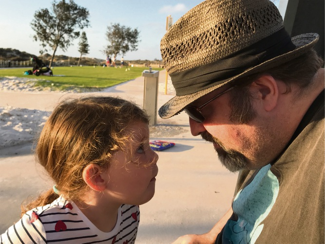 Tuart Hill resident Holly Clark sent this photo of her daughter Abigail (4) in a staring competition with her dad Cameron Clark while enjoying dinner at the Whale Playground.