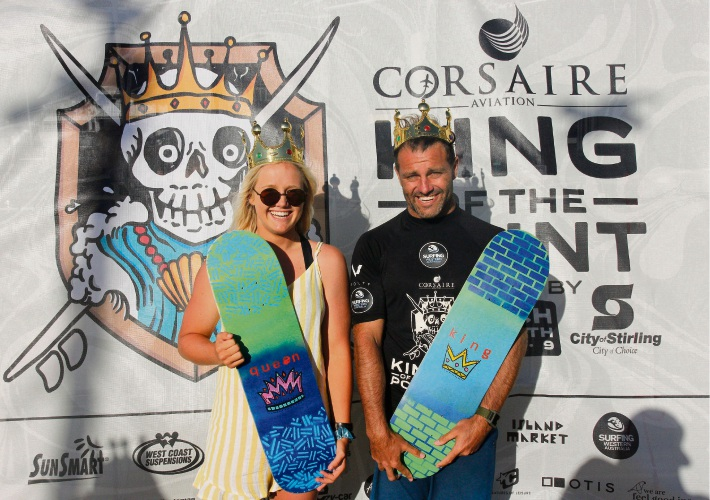 Queen of the Point winner Emma Cattlin and King of the Point Luke Campbell. Photo: Surfing WA/Majeks