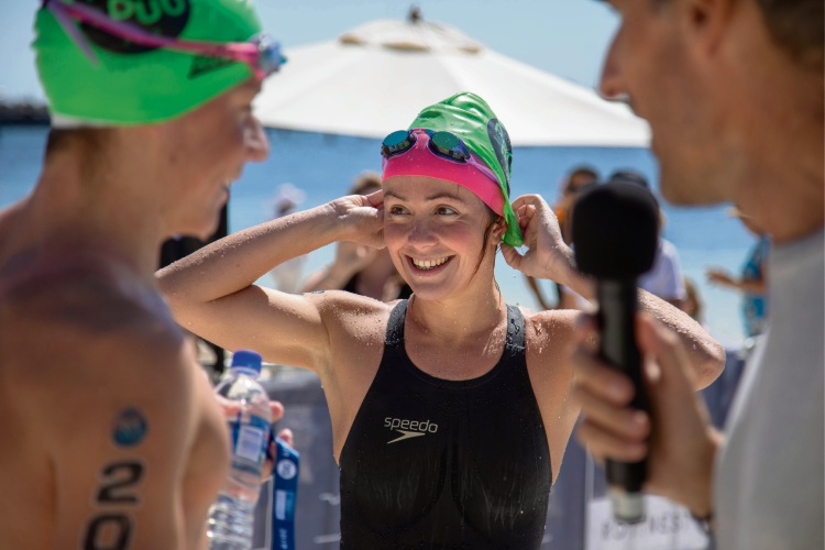 Sprint to finish in 19km Port to Pub swim to Rottnest Island