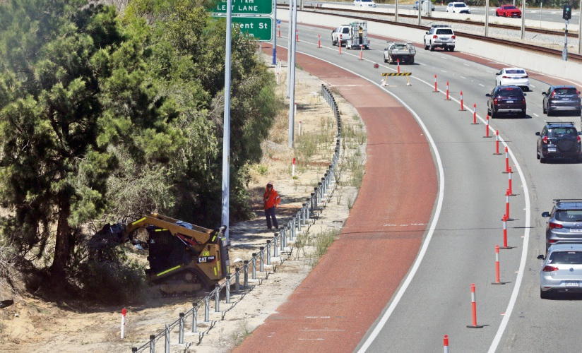 Trees being removed along the Mitchell Freeway verge in Stirling. Photo: Martin Kennealey. d491665