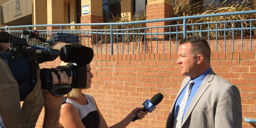 Former Joondalup Mayor Troy Pickard outside Joondalup Magistrate's Court this afternoon. Picture: Tyler Brown