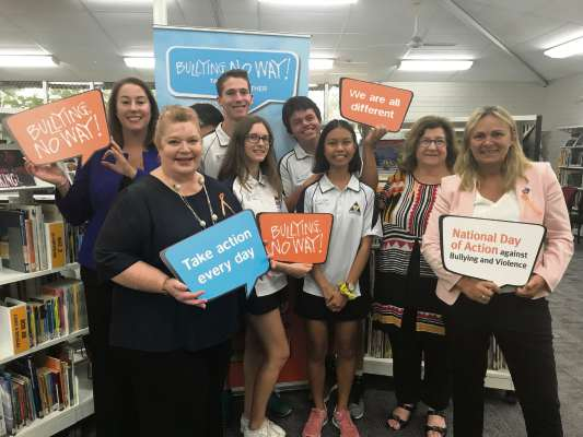 Wanneroo Secondary College students and principal Pauline White with East Metropolitan MLC Samantha Rowe, Education and Training Minister Sue Ellery and Wanneroo MLA Sabine Winton.