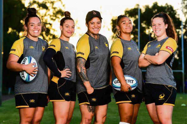 Rugby WA's Super W squad members from Wanneroo Rugby Union Club Caitlin Burt Poloai, Zakiya Kereopa, Tui Cope, Sera Ah-Sam and Taylor Waterson. Picture: Rugby AU Media/Stuart Walmsley