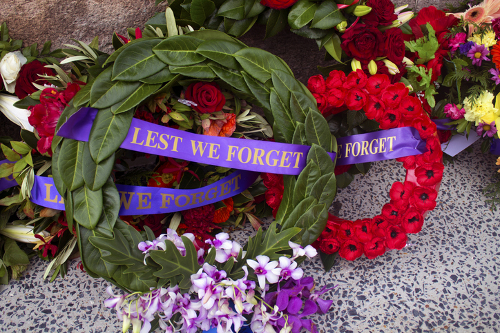 Flowers laid for Anzac Day. Picture: iStock