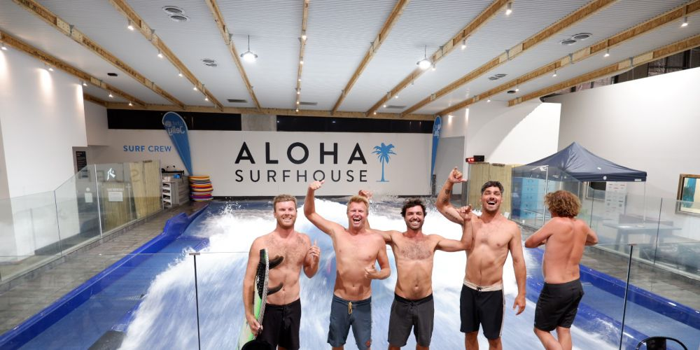 Champion surfer Taj Burrow (second from left) joined mates Mitchell Taylor, Dino Adrian, Jay Davies and Sam Wrench at Aloha Surfhouse in Joondalup on Saturday night to test out the indoor standing wave.