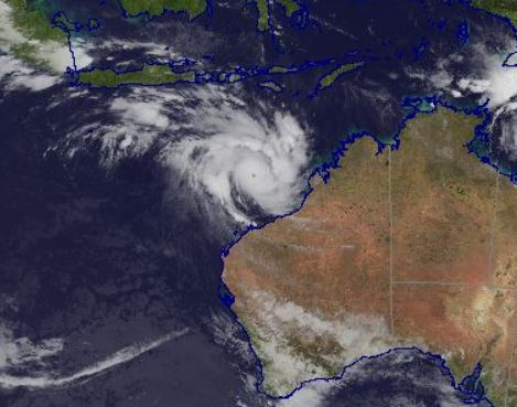 Cyclone Veronica is now a category 3. Photo: Bureau of Meteorology