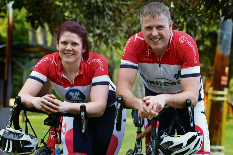 Partners Isabelle Andrews and Darren Schenk gearing up to raise funds for Youth Focus. Picture: Martin Kennealey d491349