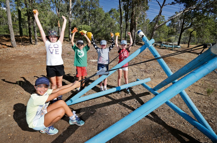 Allegra Diano, Kendra Venn, Shaira Canamo, Emma Brocklehurst and Fletcher Preston with the new catapult at  Bickley Outdoor Recreation Camp. Photo: David Baylis.