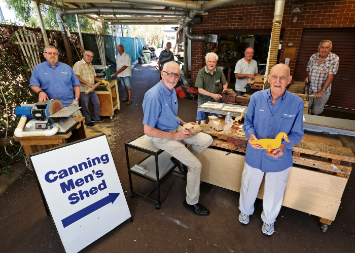 AT FRONT IN BLUE L-R: Don Buchanan (Canning Men's Shed president) and Eddie Holmes (Men's Shed Vice President and Founding President). Picture: David Baylis. d491773