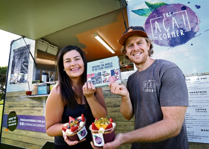The Acai Corner owners Maddie Russell and Andrew Moyes, whose food truck was the only one from WA listed as in a Lonely Planet guide. Picture: David Baylis