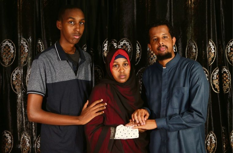 Khadra Ibrahim supported by family ahead of flying to New Zealand. Picture: The West Australian