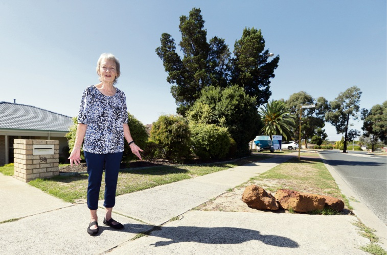 Delores Meredith says rocks protect her reticulation. Picture: Martin Kennealey www.communitynews.com.au d491788