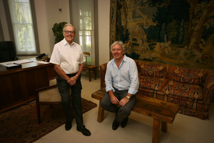 Major Holdings board member Joe Clark and managing director Grant Young still work together after Mr Clark celebrated 70 years at the West Perth company this month. Picture: Andrew Ritchie.
