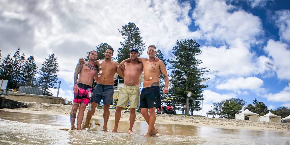 Jesse Polock, Lukas Street, Bruce Hopkins and Trent Maxwell, four members of Bondi Rescue cast. Photo: Andrew Ritchie.