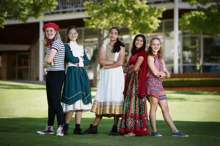 MLC students Sophie Dore, Sammy Kong, Gian Connaughton, Karmanya Agarwal and Chana Van Wyk. Harmony Day at MLC. Picture: Andrew Ritchie