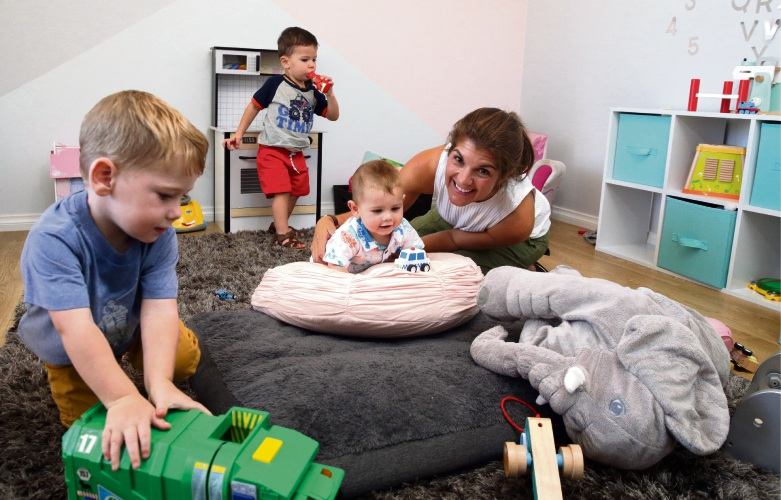 Little Cadets Family Daycare owner Tamara Makhouli with Leo Cooper , Jack Fenwick and Flynn Cooper. Picture: Martin Kennealey