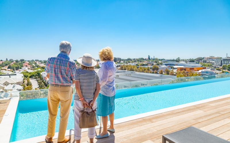 Guests admired the rooftop facilities at the grand opening of Botanical Apartments last month.