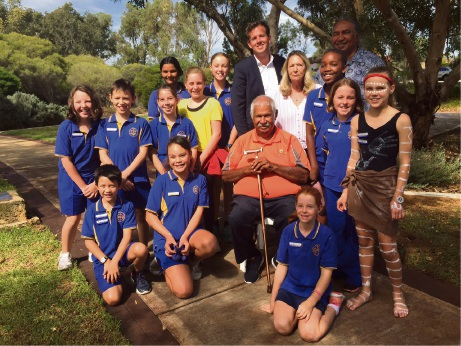 Aboriginal elder Harry Nannup (centre) with Mayor Rhys Williams, Cr Lynne Rodgers, George Walley and Glencoe Primary School students.