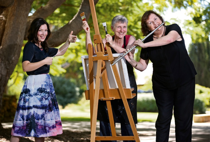 L-R: Laurissa Wyllie.McCarthy of Alfred Cove (Music Director and Conductor with the South Side Symphony Orchestra), Visual artist Lyn Isted of East Fremantle and Margaret Griffiths of Leeming (Flautist with the South Side Symphony Orchestra).Picture: David Baylis. d491689