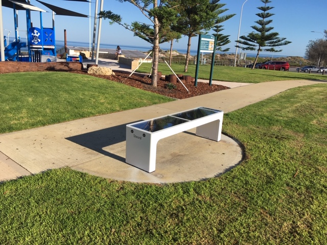 The Steora smart bench at Tom Simpson Park.