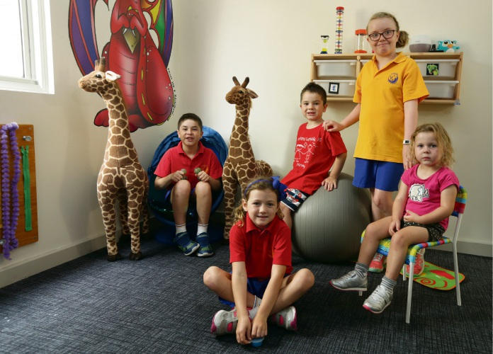 Whitford Catholic Primary School students Lachlan Beveridge (8), Taylor Doherty (5), Joshua Beveridge (4), Mia Gumbleton (8) and Charlotte Ratcliffe (4) check out the Rainbow Room. Picture: Martin Kennealey d491009