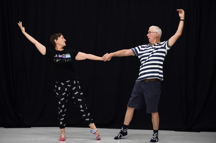 Roger Palmer with Dance teacher Liz Cornish Picture: Jon Hewson www.communitypix.com.au   d491842
