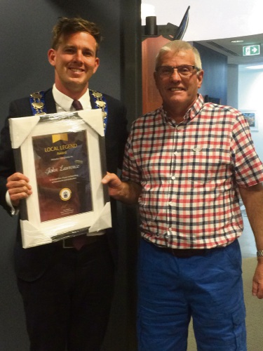 Local Legend John Lawrence with Mayor Rhys Williams.
