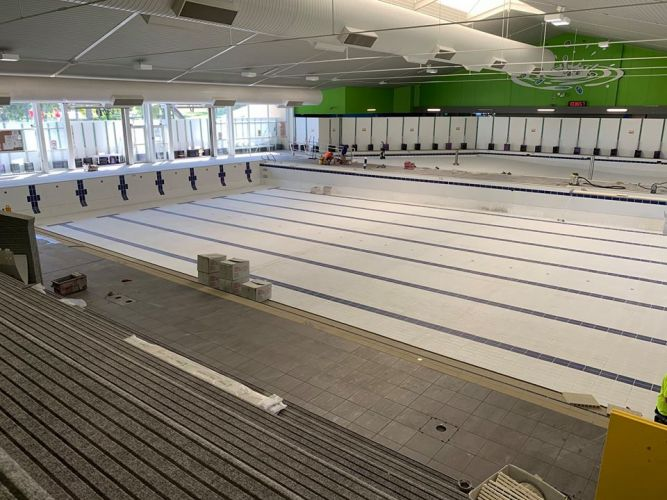 Re-tiling works have been completed on the lap and leisure pools at Aquamotion. Pictures: Facebook