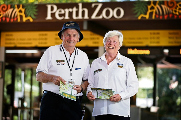 South Perth resident Andrew Derbyshire and Duncraig resident Janice Aitken are Perth Zoo Docents ready to assist all visitors. Picture: David Baylis