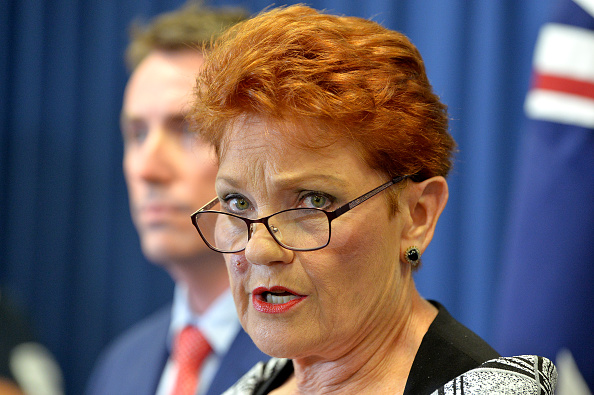 One Nation leader Pauline Hanson speaks during press conference on March 28. Picture: Bradley Kanaris/Getty Images
