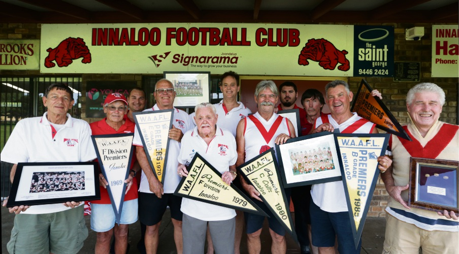 Past and present players, coaches and captains of Innaloo Football Club. Photo: Martin Kennealey. d491612