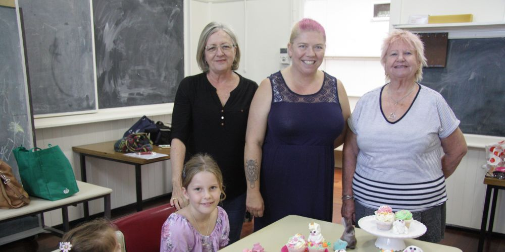Young Cockburn girls Anya with Cockburn CWA members Noeline Locke, Charmaine Riccio (from The Charming Baker) and Lynne Phillips.