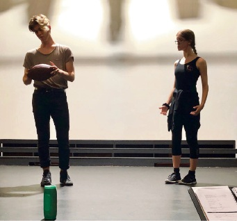 Youth performers Josh Spencer-Pepper and Tayah Crothers practising for Band Geeks at Old Mill Theatre. Picture: Supplied.