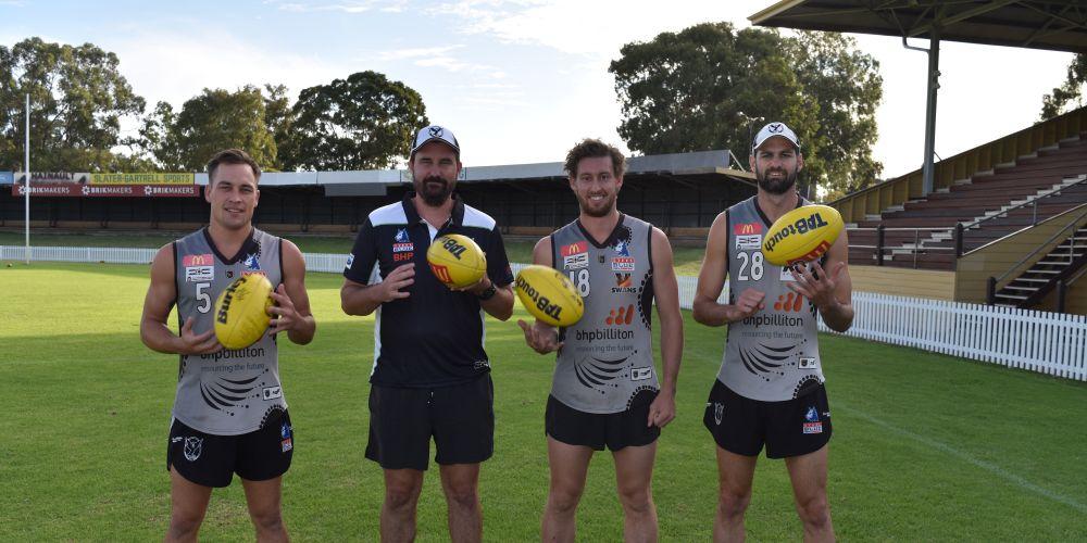 Swan Districts co-captain Dave Ellard, senior coach Adam Pickering, co-captains Matt Riggio and Tony Notte. Picture: Kristie Lim