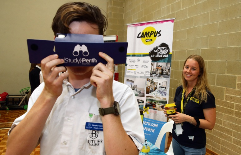 Butler College Year 11 student Fletcher Williams (y11) with Alaine Bailey from Campus Perth at the school's careers expo. Pictures: Martin Kennealey