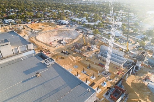 Constrction works at the east side of Karrinyup Shopping Centre. Photo: Karrinyup Shopping Centre