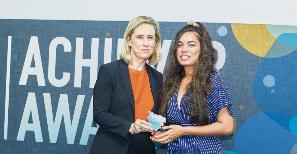 Child Protection Minister Simone McGurk with Community Spirit Award winner Eva Muilenburg