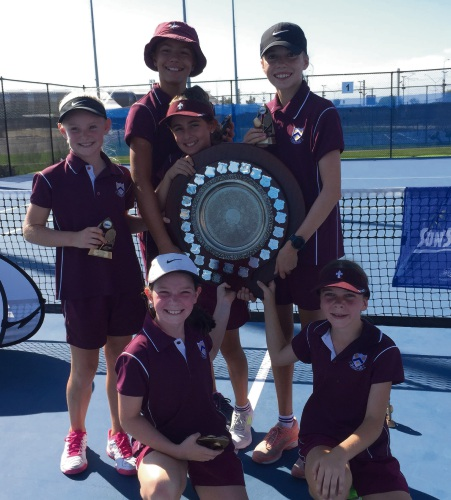 The winning St Mary's tennis team.
