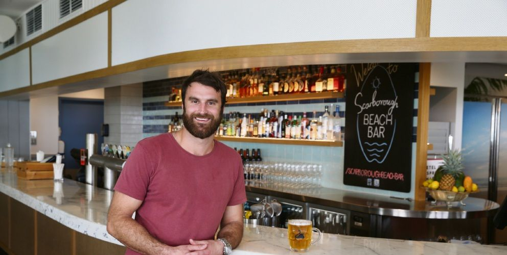 Scarborough Beach Bar owner Adam Kapinkoff at the revamped venue. Photo: Andrew Ritchie.