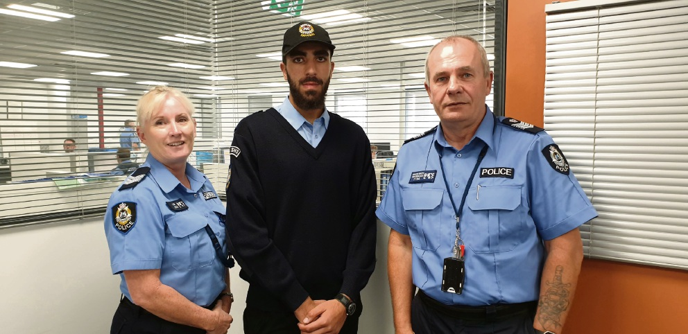 Sergeant Anne Loe, Obaida Mahrous and Mirrabooka Police officer-in-charge Graeme Macey.