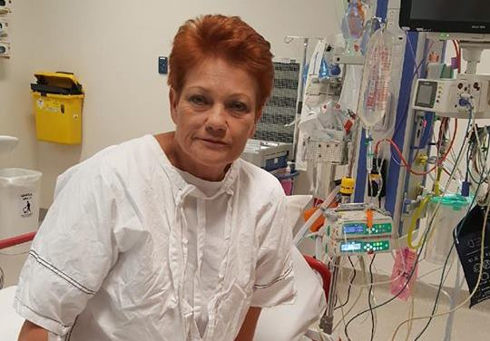 Pauline Hanson is in hospital. Photo: Facebook