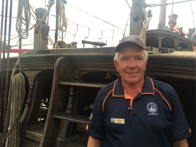 Robin Chester aboard the Duyfken after tying up at AQWA.