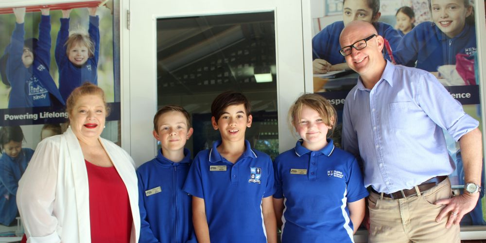 Education Minister Sue Ellery, Mikah Whisson, Bailey Pilapil, Sienna Kelly and Mt Lawley MLA Simon Millman.