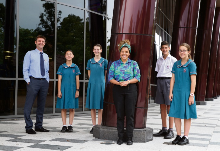 Shane Willshire (gifted and talented coordinator), Carina Leutheusser (y8), Aimee Robbins (y8), Aggie Manel (Aboriginal liason officer), Alex Papas (y8) and Zia Finos (y8). Picture: Martin Kennealey www.communitypix.com.au   d492090