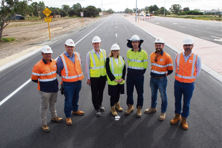 Transport Minister Rita Saffioti (centre) with CPB contractors and Main Roads representatives at the newly opened section of New Lord Street.
