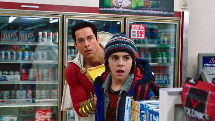 Zachary Levi as Shazam and Jack Dylan Grazer as Freddy Freeman.