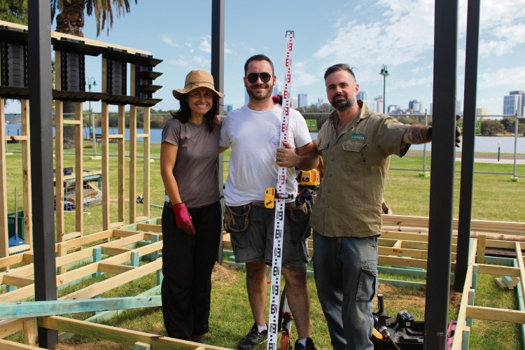 Fremantle garden designer Cherise Haslam, Hamilton Hill timber installer Vincenzo Cicala and Rivervale landscaper Alessio Paoletti teamed up for their first display at Perth Garden Festival. Picture: Nadia Budihardjo.