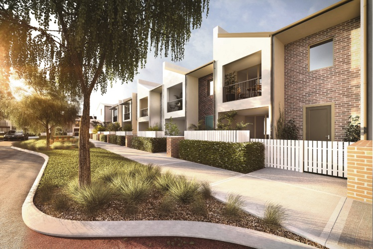 An artist's impression of the terrace homes at the Calleya community in Treeby.